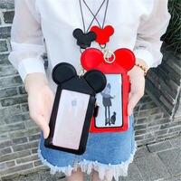Disney мультфильм портмоне карты и ID Держатели большой экран молния мобильный телефон сумка мини мульти-карта висячая Веревка на шею