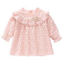 Dla dzieci sukienki dla dziewczynek jesień bawełna koronki linia sukienka dla dzieci ubrania dla dzieci chrzciny noworodka dziewczyna odzież 0 2Y różowy biały