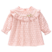 Kids Dresses for Girls Autumn Cotton Lace A line Baby Dress Children Clothes Christening Newborn Girl Clothing 0 2Y pink white