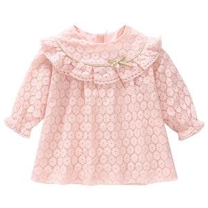 Image 1 - Vestidos infantis para meninas, vestidos para crianças para meninas de outono, algodão, laço, linha a, roupas para bebês, batizado, roupas para meninas recém nascidas, rosa, branco
