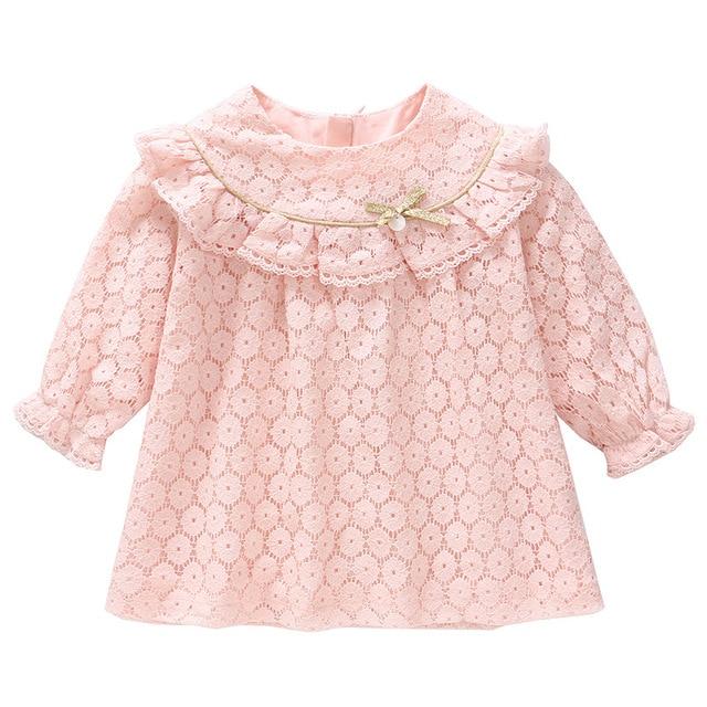 Vestidos infantis para meninas, vestidos para crianças para meninas de outono, algodão, laço, linha a, roupas para bebês, batizado, roupas para meninas recém nascidas, rosa, branco