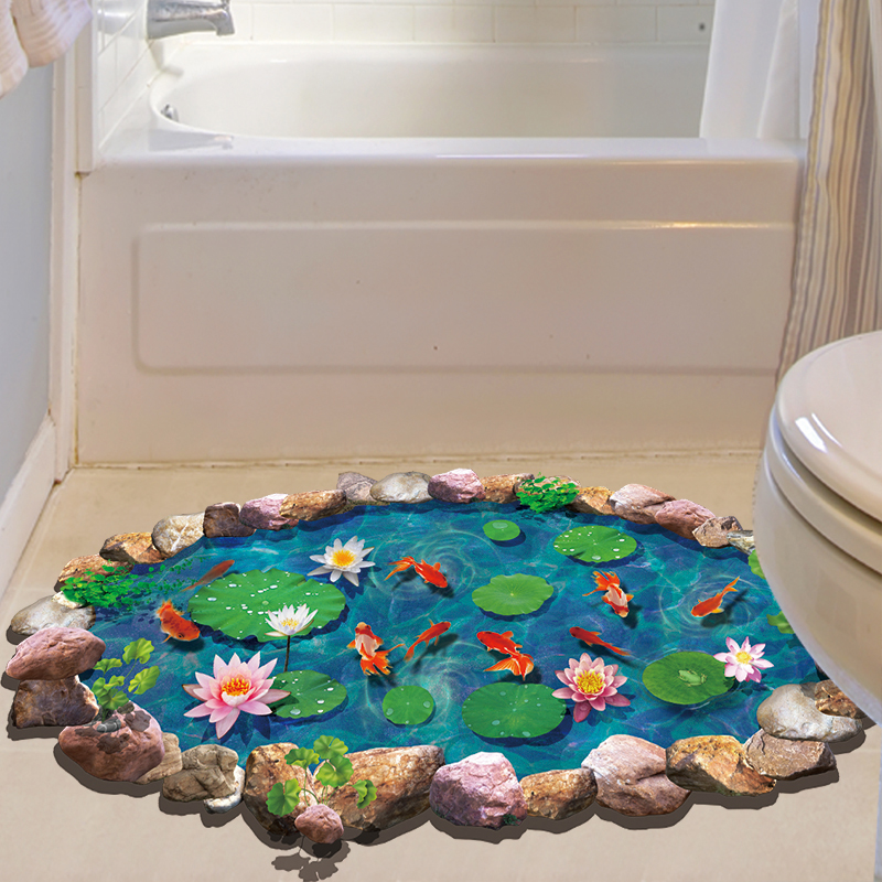 Shijuehezi Lotus Blatt Fischteich 3d Boden Aufkleber Vinyl Diy Home