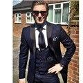 Custom blue men's suits, tailored suits, the groom dress custom men marry suits, thin body of men (coat + pants + vest, tie)