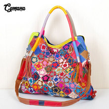 Genuine Leather Women Handbag 2019 Handmade Colorful Flowers Hit Color Large Capacity Hollow Stitching Luxury Bags