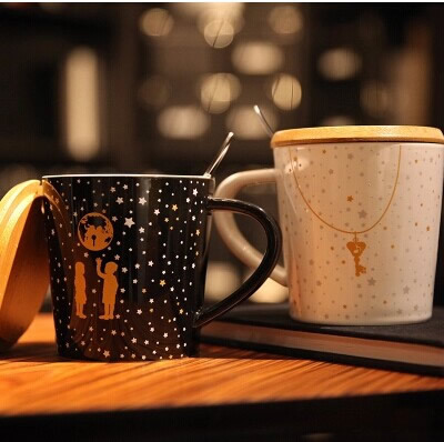 Lovers <font><b>Little</b></font> Star mug Creative cute couple <font><b>cups</b></font> of <font><b>black</b></font> and white Star Mug