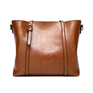 Image 2 - 高級婦人用バッグオイルワックスレザーショルダーバッグ財布ポケットの女性のハンドバッグ女性のメッセンジャーバッグビッグトートバッグbolso feminina