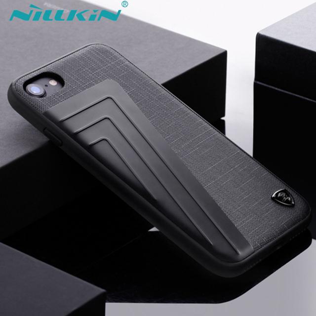 Nillkin para iphone 7/7 plus caso abrange crocodile pattern pu couro + alumínio + soft tpu + pc híbrido de volta cubra com pacote de varejo