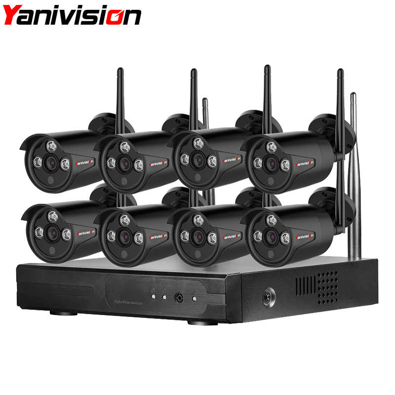 2MP Outdoor Security Camera System Wireless 8CH 1080P HD 20m Night Vision Waterproof Home Use Wifi