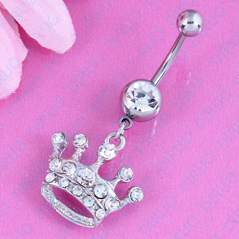 Ring Jewelry Crown Belly-Bar Body-Piercing Dangle Surgical-Steel White Women Fashion