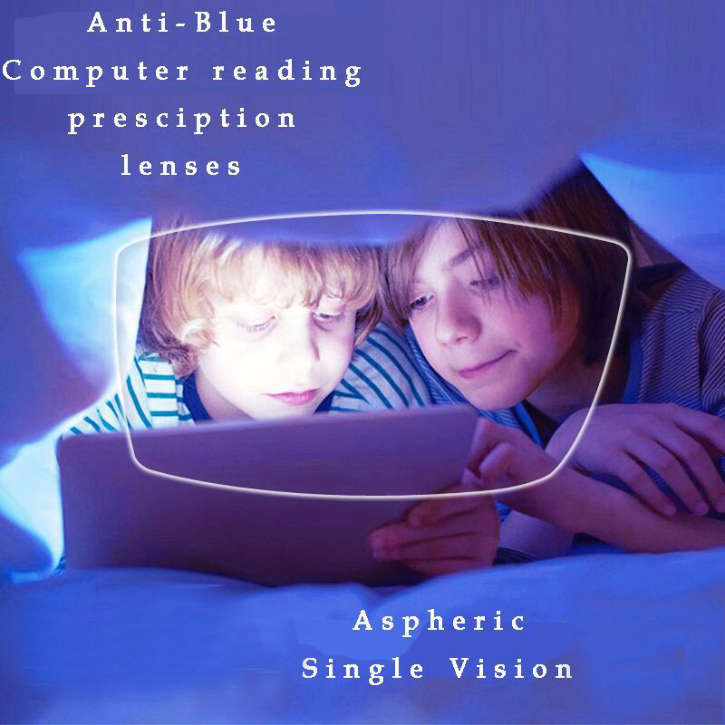 1.61 Anti-Blue Ray Prescription Optiske briller Spectacles Objektiver 1 Par Rx-linser Gratis montering med briller Ramme