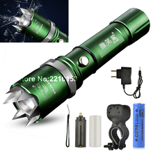 Green Tactical Torch Riding Strong Light Flashlight Rechargeable LED Zoomable Self Defending With Safety Hammer