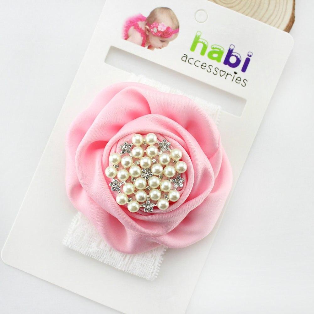 Атласные розочки для девочек повязка на голову обруч жемчужный аксессуары для волос для девочек