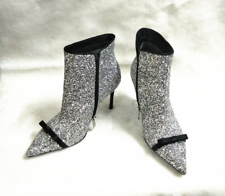 2018 Hot Autumn Winter Boots Shoes Woman Sexy Glitter Bling Ankle Boots Side Zip High Heels Pointy Toe Woman Runway Boots Tide 2018 Hot Autumn Winter Boots Shoes Woman Sexy Glitter Bling Ankle Boots Side Zip High Heels Pointy Toe Woman Runway Boots Tide