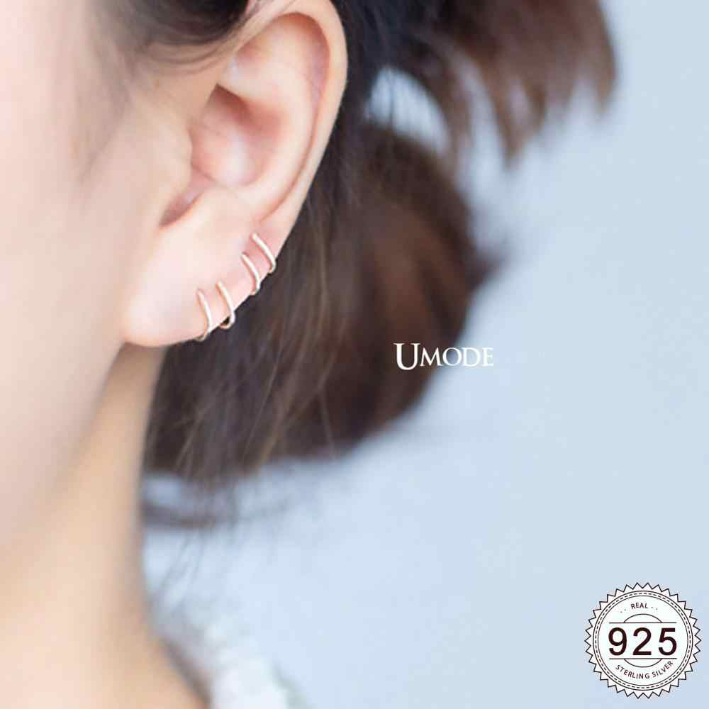 UMODE Korean Fashion Real 925 Sterling Silver Earrings for Women Silver Stud Earrings Open Twist Pendientes Fine Jewelry ULE0488
