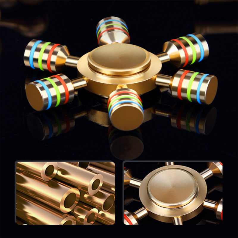 OYIP JX 6 Rainbow Fidget Spinner Finger Spinner Hand Spinner Brass Spiner Comes With Metal Box