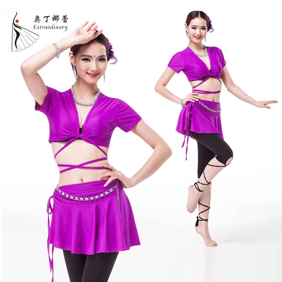belly dance costumes acrobatics clothes suit short sleeved bandage shirt skirt