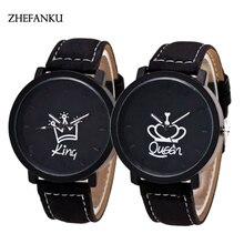 Lovers Quartz Watch Brand Luxury Men King Watches Women Queen Leather Wristwatch Female Male Quartz Couples Clock Hours