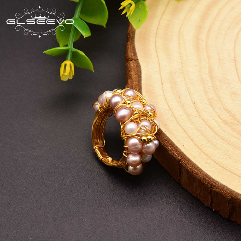 GLSEEVO Handmade Natural Baroque Fresh Water Pearl Rings For Women Wedding Party Engagement Ring Fine Luxury Jewellery GR0243
