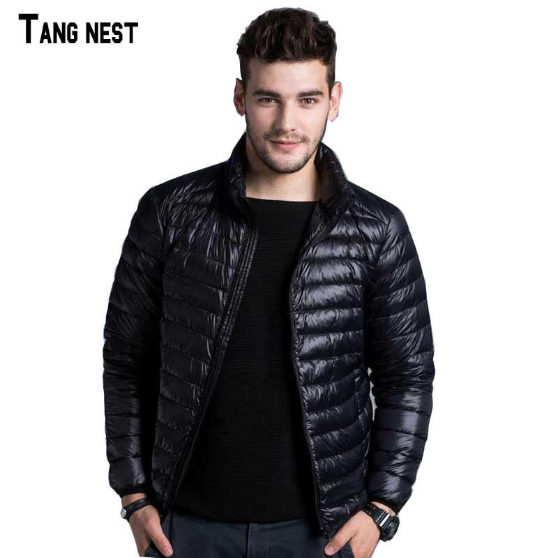 TANGNEST Men Casual Warm Jackets Solid Thin Breathable Winter Down Jacket Mens Outwear Coat Lightweight Jacket MWY280