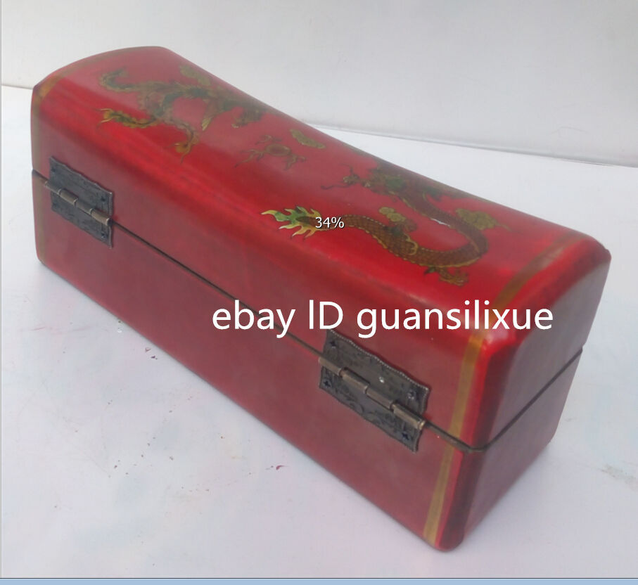 Superb Vintage Collection Old Handmade Wood Red Bird Leather Box