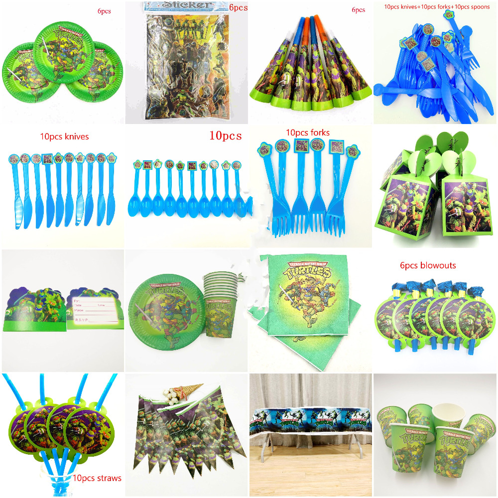 Teenage Mutant Ninja Turtles Party Supplies Kis Disposable Tableware Tablecloth Plates Cups Baby Shower Event Parties Decoration