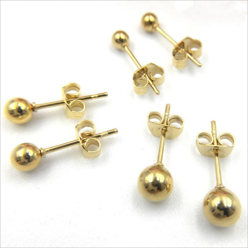 10pcs Stainless steel Earring Stud Posts Hollow Round Pin Earrings