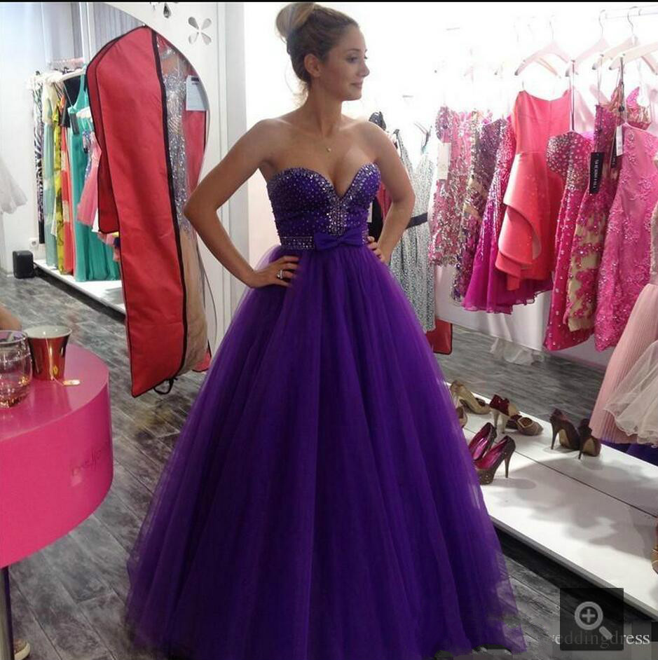983d5335b77 2016 a line Purple Rhinestones Beading Prom Dresses Sweetheart Neckline A  Line Formal prom gowns Long Floor Length Pageant Gown-in Prom Dresses from  ...