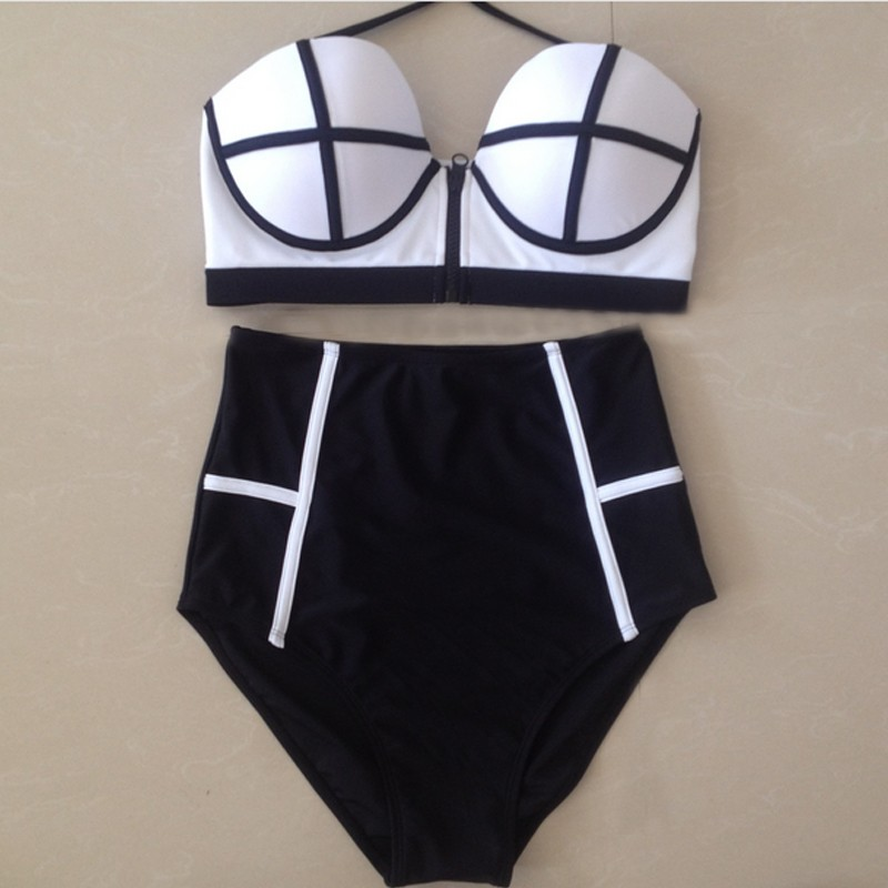 Sexy High waist Bikini Set Swimsuits Women Push Up Bikinis HighWaist Zipper Bathing Suits Vintage Swimwear Retro Biquinis 11