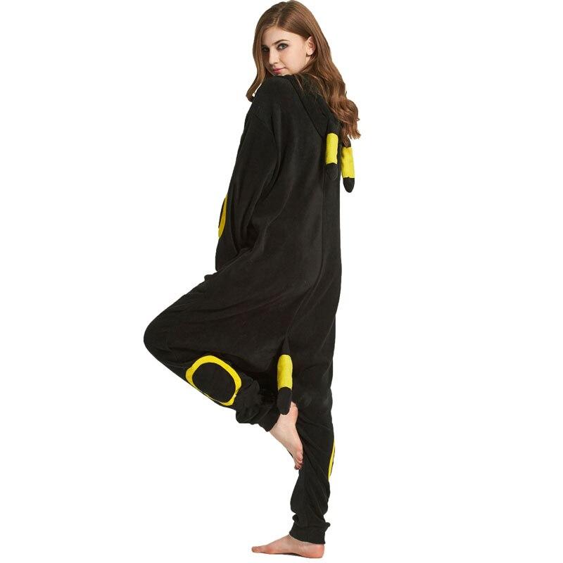 Черная Пижама кигуруми покемон косплей пижамы Umbreon флис животных Женские вечерние костюмы зимняя одежда для сна Хэллоуин Косплей Костюм