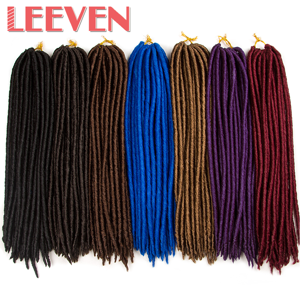 Leeven 18'' 24strands 100g Dread Faux Locs Synthetic Braiding Hair Extension High Temperature Fiber Crochet Braid For Women 1PCS