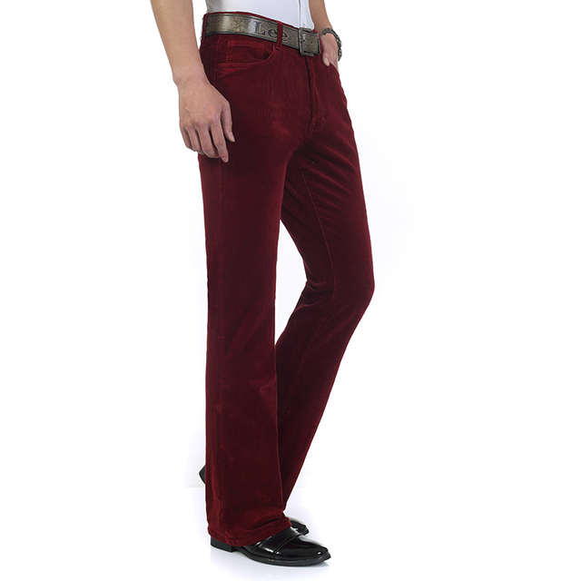 Free Shipping 2019 Men's Spring Autumn New Corduroy Boot Cut Pants Male Mid Waist Business casual flares Corduroy Trousers 27-38 6