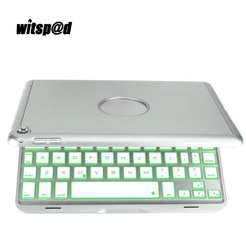 Witsp@d Luxury Backlit Wireless keyboard for iPad mini 4 3 2 Aluminum Wireless Bluetooth Keyboard Case for iPad 7.9 Tablet PC aluminum keyboard case with 7 colors backlight backlit wireless bluetooth keyboard