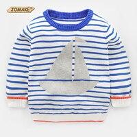Gestreepte Jongens Truien Nieuwe Aankomst Lente Mode Zeilboot Gedrukt Kinderen Truien Kinderen Gebreide Top Casual Baby Boy Kleding