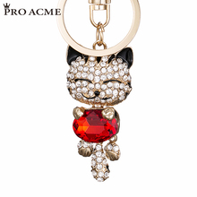 PRO ACME Crystal Rhinestone Metal Cat Keychain Novelty Gifts Couple Key Chain Car Key Ring Women Hangbag Charms Pendant  PWK0393