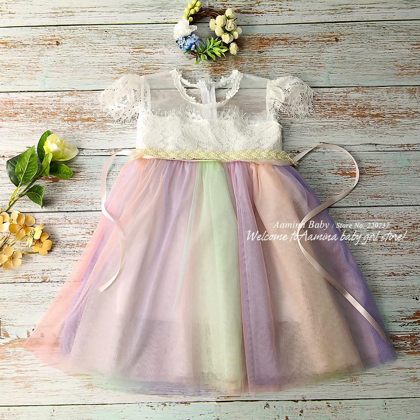 f1281f01b Venta al por menor de la princesa arco iris de encaje vestidos de bebé niña  vestidos
