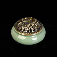 Longquan celadon aromatherapy furnace ceramic copper cover incense stove incense holder copper santalwood incense coil incense mahogany quality crafts line pomades at home line incense burner wood lying incense box incense stove sandalwood furnace
