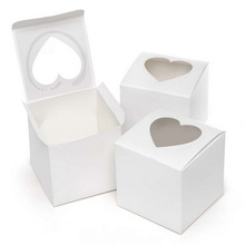 White Favor Box With Heart Shaped Window Single Cupcake Boxes With Ribbon 50pcs