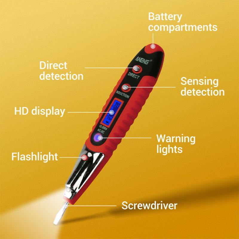2019 NEW VD700 Digital Test Pencil Multifunction AC DC 12-250V Tester Electrical Test Pencil Detector Voltage Detector Test Pen