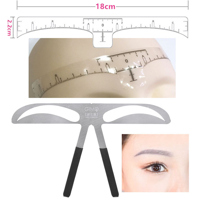 Eyebrow Sticker Stencil Ruler Kit Permanent Makeup Brow Beauty Cosmetic Shaping Grooming Measure Position Template Metal Ruler 2