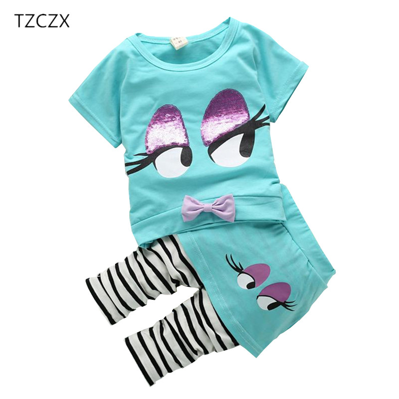 TZCZX Summer Children girls Sets Novelty Kids clothing,Two color yellow/blue,For 12M to 4T