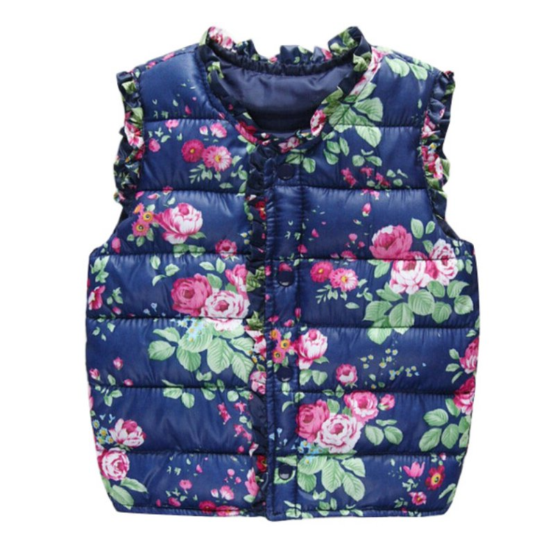 Toddler Kids Baby Girls Winter Coat Vest Jacket Cotton Warm Floral Print Cute Outwear Waistcoat