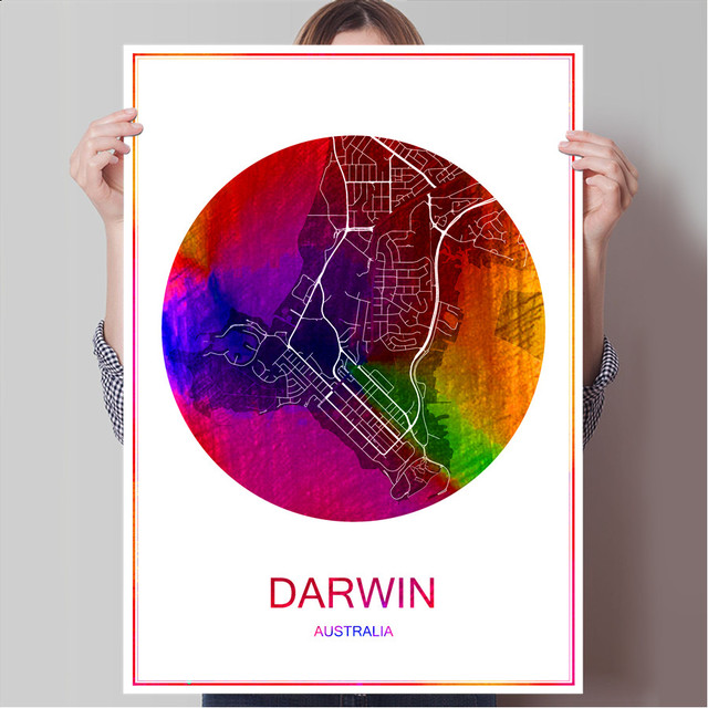 world famous city map darwin australia print poster print on paper or canvas wall sticker bar