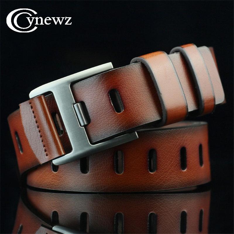 Vintage Personality Mens   Belt   For Jeans Luxury Designer   Belts   Men High Quality Cinturones Brown Pin Buckle Lether   Belts   110cm