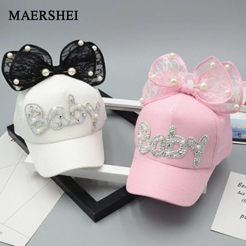 MAERSHEI Cute Big Bow Girls Snapback Baseball Cap Children Mesh Cap Spring Summer Adjustable Snapback Casquette Kids Baby Pearl