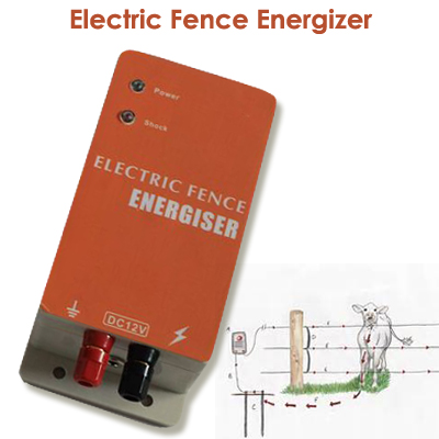 10KM Electric Fencing Controller Electric Fence Energizer Charger for Animals Cow Sheep Horse Deer Bear Pig Goat Dog Chicken