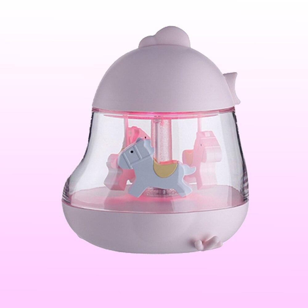 Музыкальная карусель светлая игрушка музыкальная шкатулка Карусель круглые цветные светодиодные лампы конский карусель Свадьба романтический подарок на день рождения - Цвет: Pink