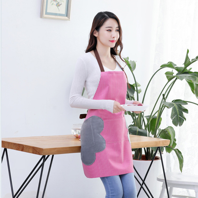 Image 4 - Abrasion Hand Apron Waterproof And Oil Proof Striped Apron Female Chef Adjustable Baking Accessories Commercial Restaurant-in Aprons from Home & Garden
