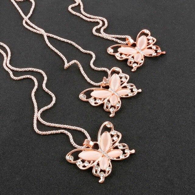 c9338d69aaf4 Mariposa colgante gargantilla Collar para las mujeres cadena de oro rosa  gato Ojo de piedra cadena