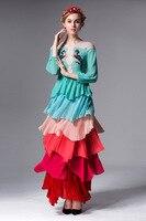 Urumbassa женщины градиент богемное платье 2018 Весна посадочных полосах Длинные рукава с вышивкой многослойное платье шикарные дамы в элегантны