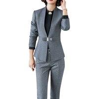 2019 Spring Autumn Business Women 2 Piece Interview Suit Set Uniform Long Sleeved Blazer Pencil Pant Office Lady Suits Plus 5XL